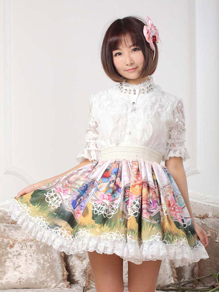 Sweet Pink Lace Printed Polyester Unique Lolita Dress фото