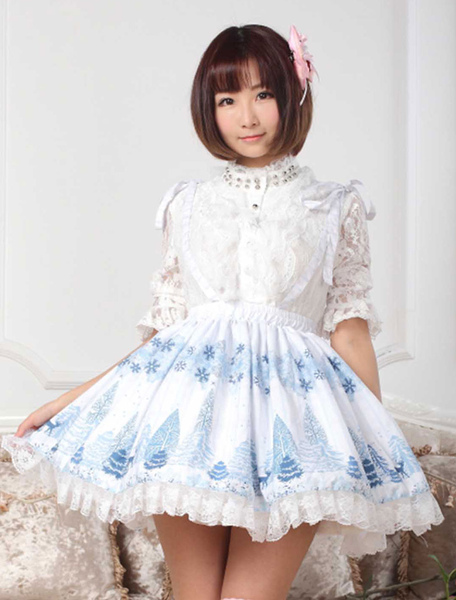 Sweet Blue Lace Snowflower Printed Polyester Lolita Dress фото
