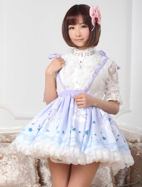 Sweet Blue Lace Bow Printed Polyester Lolita Dress фото