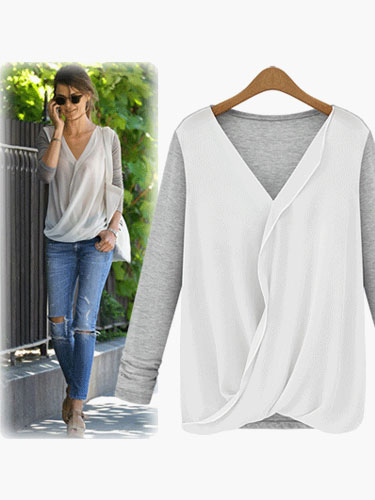Pleated V-Neck Long Sleeves Top for Woman фото