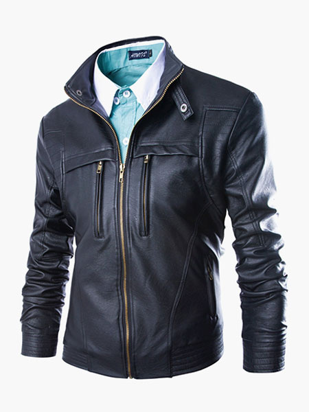 Zippers Stylish Leather Jacket for Men фото