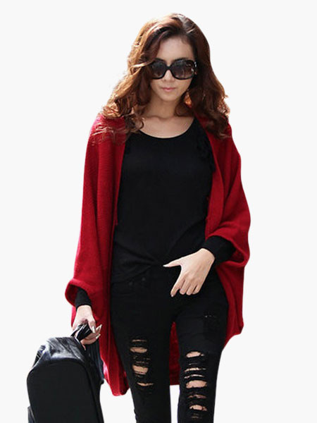 Cotton Knitted Open Front Cardigans фото