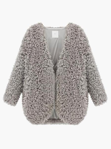 Image of Faux Fur Coat Women Faux Fur Jacket Gray Winter Coat