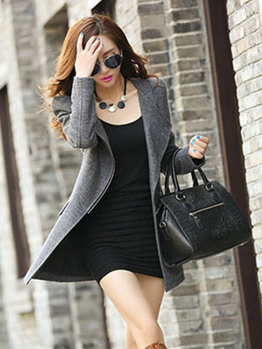 Image of Trench Women Coat Gray Long Sleeve Zippered Women Jacket