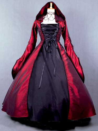Salem Witch Costume Victorian Poplin Long Sleeves Witch Dress Costume фото