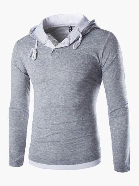 Hooded Long Sleeves Cotton Handsome Men's Tee Shirt фото