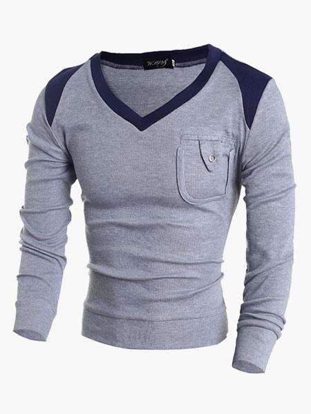V-Образным Вырезом Обработка Хлопка Пуловер Свитер Для Мужчин