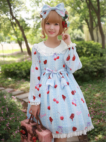 Cute Long Sleeves Bows Chiffon Lolita One-Piece фото