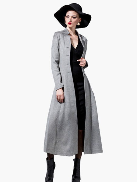 Image of Women Wool Coat Long Sleeve Dress Coat Stand Collar Button Belt Winter Coat