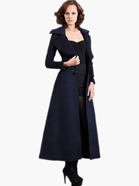 Image of Notch Collar Long Sleeves Maxi Wool Coat