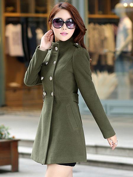Image of Trench Women Coat Wrap Coat Green Peacoat Long Sleeve Winter Coat Wrap Jacket
