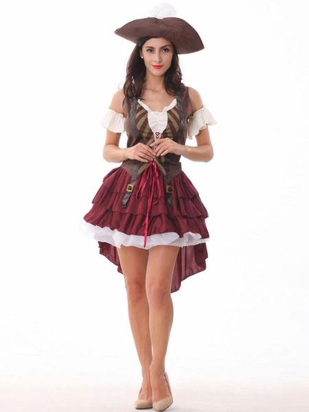 Halloween Sexy Brown Pirate Dress фото