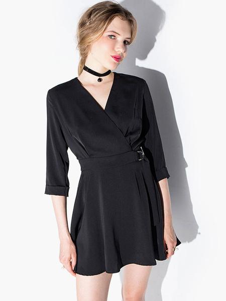 V-Neck Long Sleeves Lace up Flared Dress фото