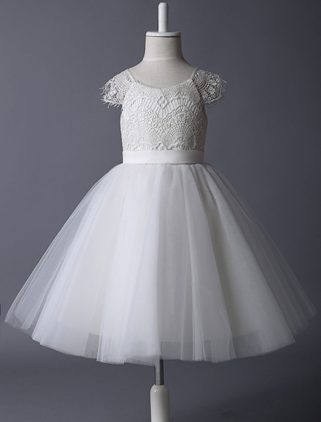 Ivory Lace Bodice Illusion Cap Sleeves With Tulle Skirt Flower Girl Dress фото