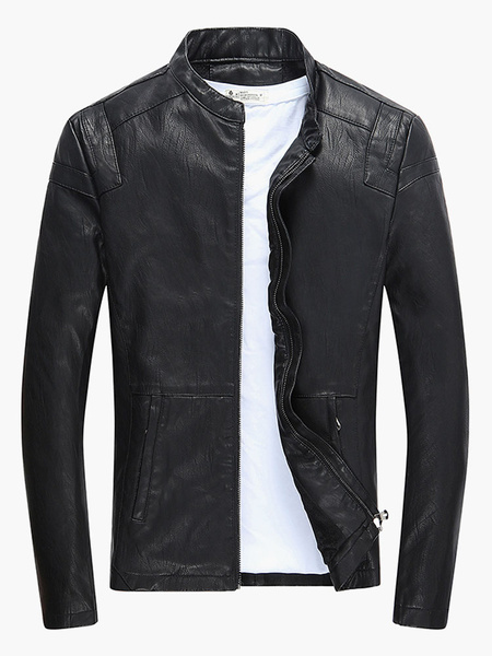 Classic Solid Color PU Leather Leather Jacket For Man Milanoo