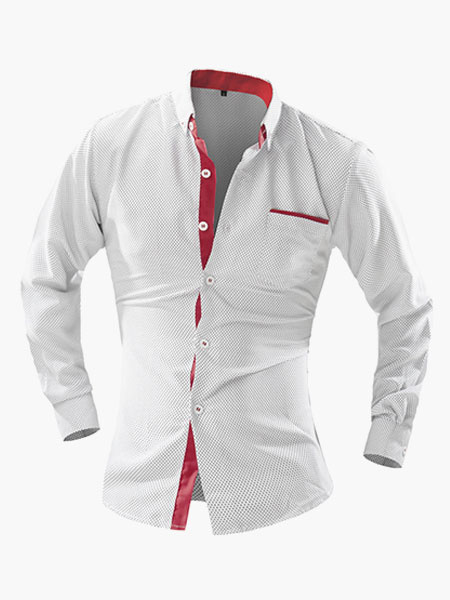 Simple Stand Collar Long Sleeves Cotton Men's Casual Shirt фото