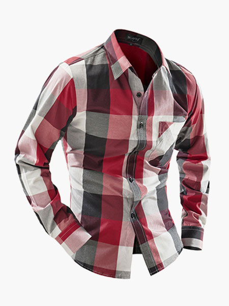Classic Plaid Cotton Long Sleeved Stand Collar Casual Shirt For Men фото