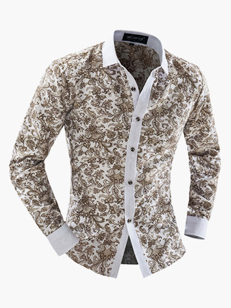 Multi Color Stand Collar Cotton Casual Floral Shirt For Man фото
