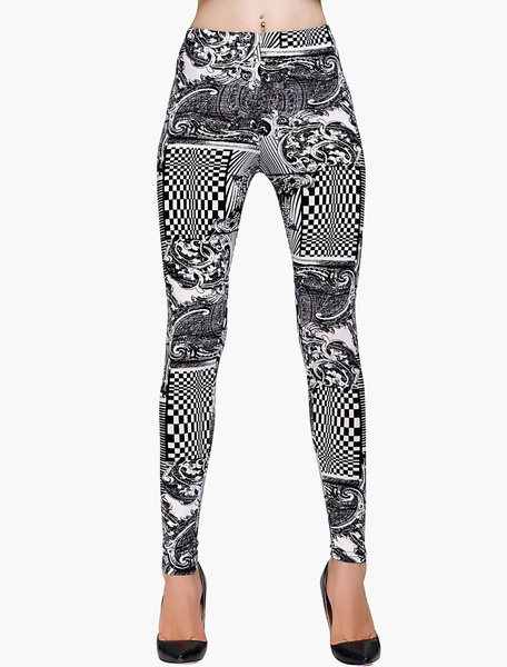 Polyester Printed Slim Fit Leggings фото
