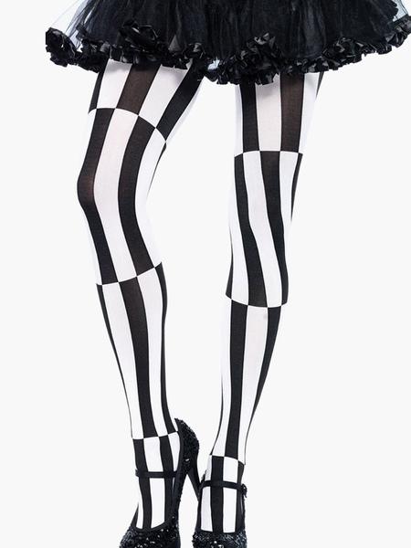 Comfy Split Color Striped Nylon Leggings For Women фото