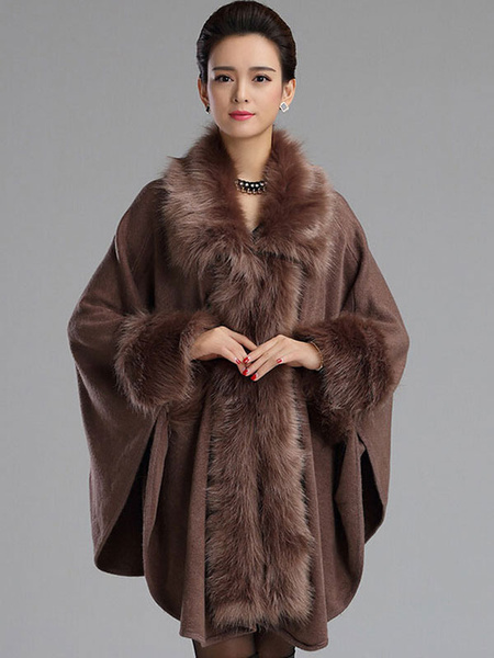 Image of Poncho Knitwear Red Women Oversized Sweater Faux Fur Coat Shawl Collar Sweaters