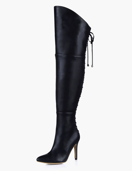 Pointed Toe PU Leather Over The Knee Boots фото