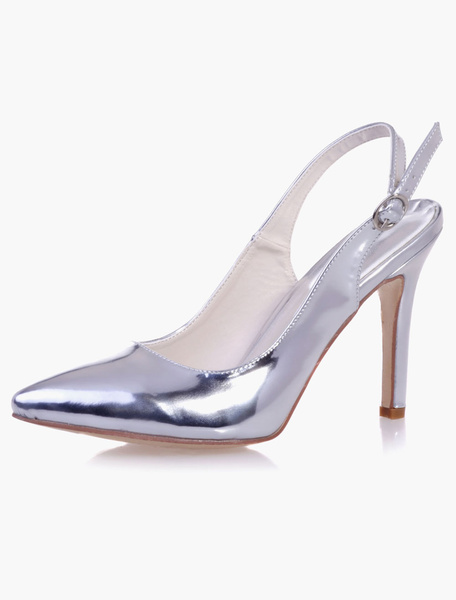 Beautiful PU Leather Sparkling Pointed Toe Pumps For Bride фото