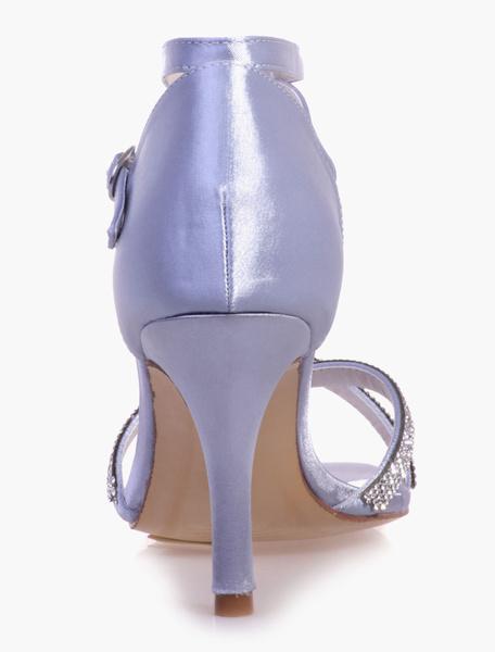 Milanoo / Diamantes de imitación hermosa tobillera redonda noche Toe y sandalias de novia