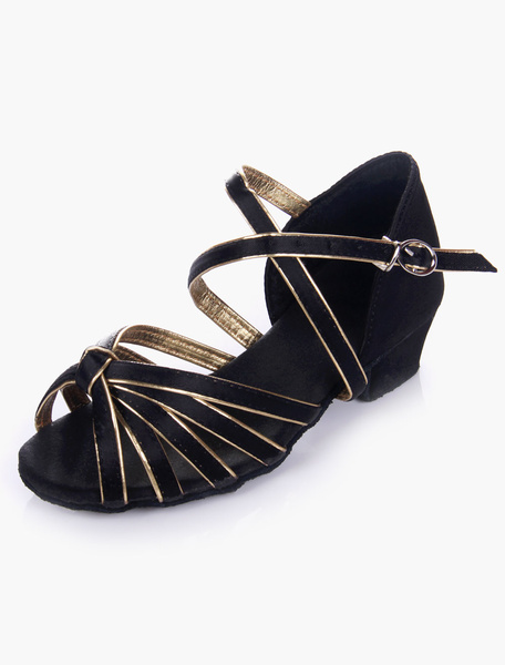 Quality Soft Sole Open Toe Satin Ballroom Shoes For Kids