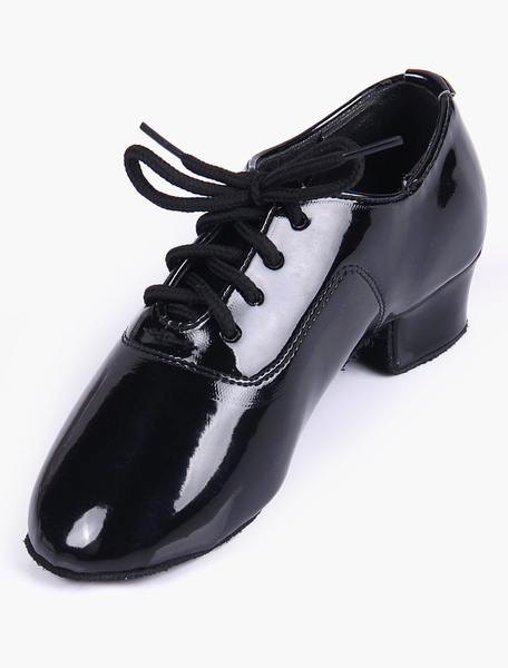 Quality Black Soft Sole Almond Toe Patent PU Upper Ballroom Shoes For Kinds