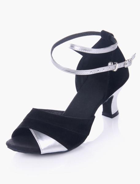 Two-tone Black Peep Toe Soft Sole Micro Suede Upper Stylish Ballroom Shoes фото