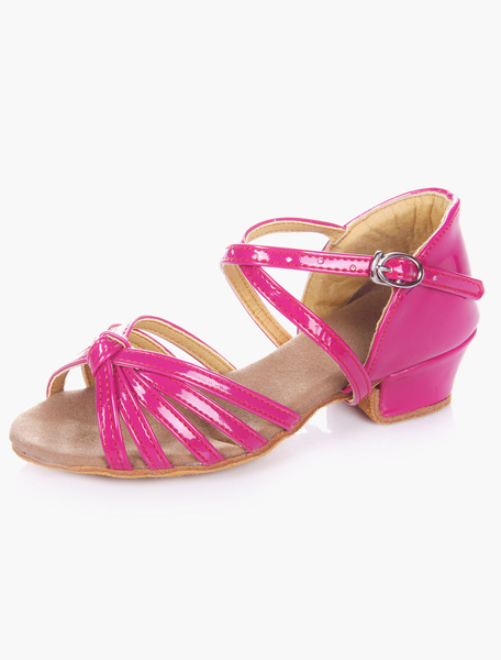 Sweet Open Toe Soft Sole PU Leather Ballroom Shoes For Kids