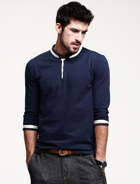 Long Sleeves Stand Collar Color Block Cotton Casual T-Shirt For Man
