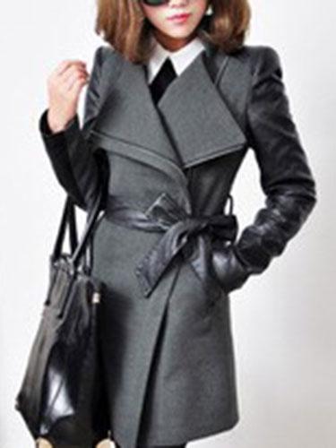 Image of Trench Women Coat Black Leather Jacket Wrap Coat Zippered Long Sleeve Winter Coat
