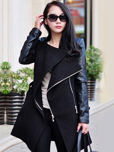 Street Style Lapel Woman's Zipper Wool Blend Coat фото