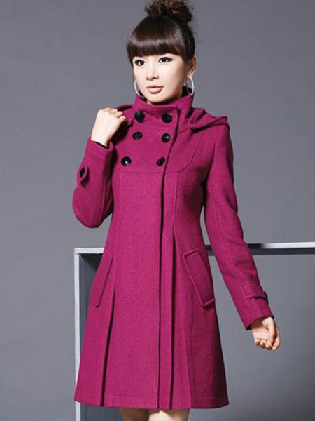 Stand Collar Hooded Long Sleeves Double-breasted Tweed Wool Coat For Woman фото