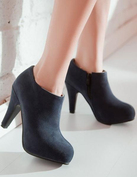 Mandel-Toe Chunky Heel Reißverschluss Ankle Booties