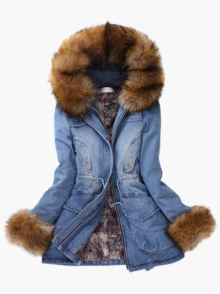 Tie-waist Faux Fur Antique Woman's Hooded Denim Coat фото