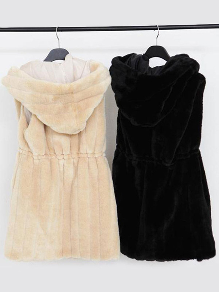 Image of Faux Fur Vest Women White Coat Hoodie Jacket Sleeveless Faux Fur Coat