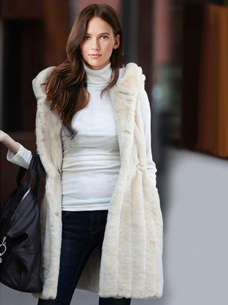 Woman's Sleeveless Faux Fur Hooded Jacket фото