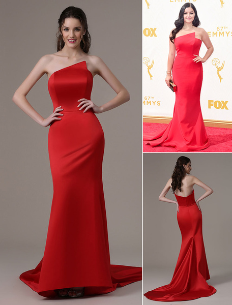 Ariel Winter Red Satin Emmys Dress with Sweep Train фото