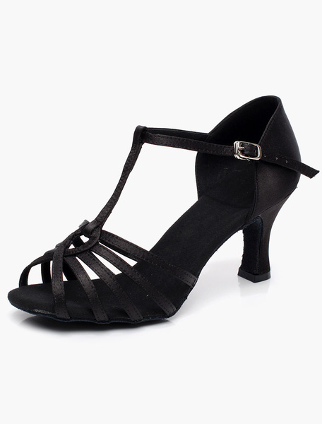 Fashion T-Type Bandage Open Toe Satin Ballroom Shoes фото