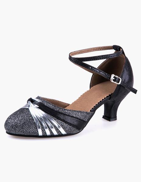 Fashion Soft Sole Ankle Strap Almond Toe Glitter Ballroom Shoes