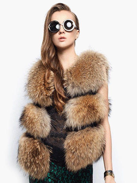 Image of Faux Fur Vest Women Camel Coat Sleeveless Faux Fur Jacket