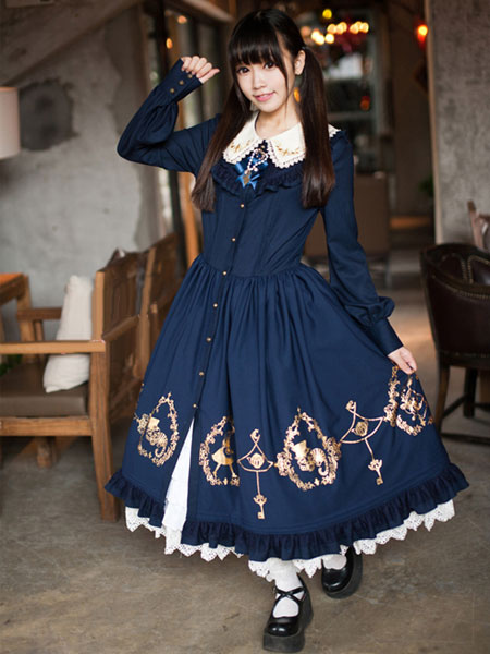 sweet alice in wonderland long sleeve synthetic lace lolita dress