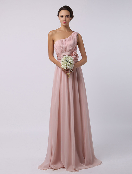 Blush Pink Floor-Length One-Shoulder A-Line Chiffon Bridesmaid Dress With Flowers