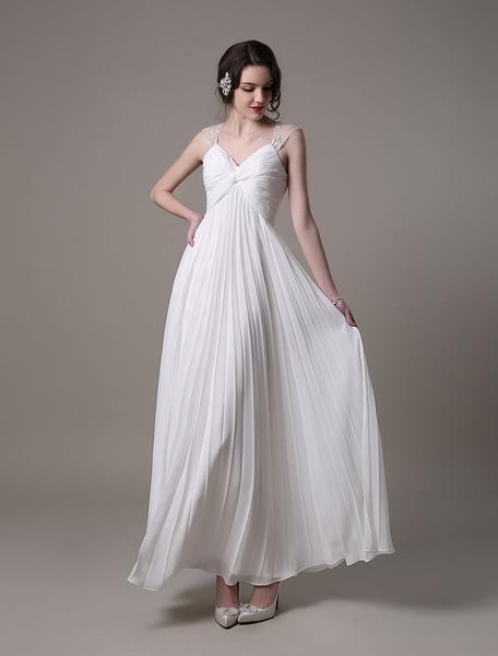 Beach Maternity Wedding Dress Chiffon A-Line Dress With Pleated Milanoo