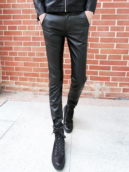 Slim Skinny PU Leather Pants фото