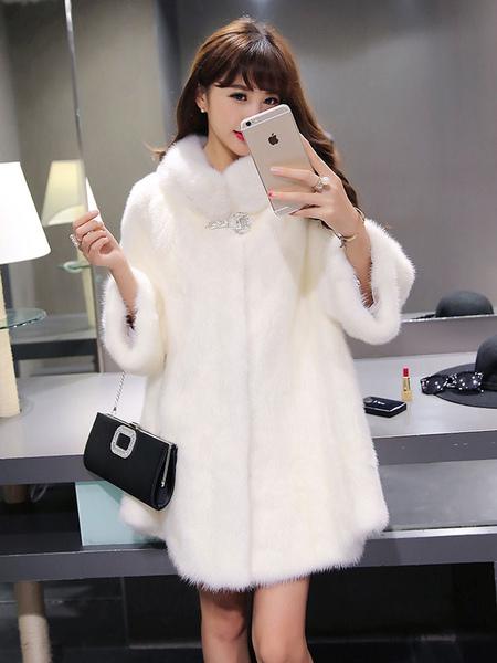 Image of Faux Fur Coat Women White Faux Fur Jacket Winter Trench Coat