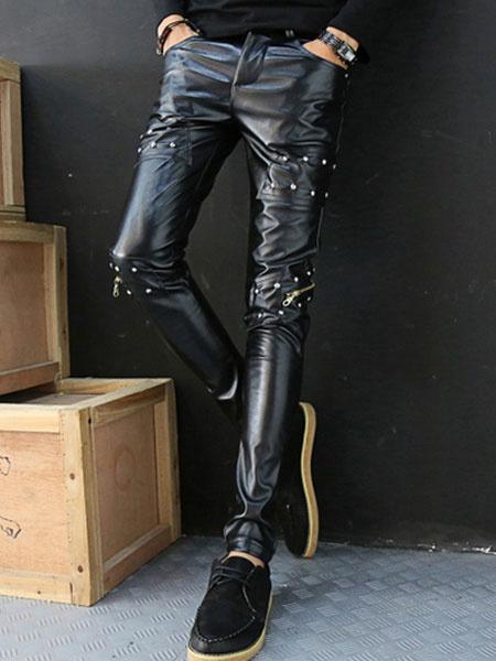 Rivets Skinny Leather Pants Milanoo